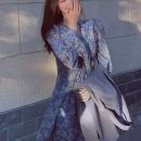 Dress Autumn 2020 Picture color M,L,XL,2XL,3XL,4XL longuette singleton  Long sleeves commute V-neck High waist Broken flowers Type A Retro 81% (inclusive) - 90% (inclusive) other