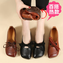 Low top shoes 36,37,38,39,40 Minlang family Black, yellow, brown Round head Top leather Flat bottom Low heel (1-3cm) Deep mouth Superfine fiber Spring 2020 Trochanter leisure time Adhesive shoes Middle age (40-60 years old) Solid color TPR (tendon) Single shoes bow X89622.. Napa