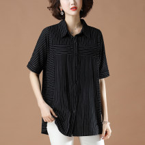 shirt Summer 2021 cotton 96% and above Short sleeve commute Regular Polo collar Single row multi button routine stripe 40-49 years old Straight tube Casper Simplicity M7387 Cotton 100% Pure e-commerce (online sales only) pure cotton L XL XXL XXXL 4XL 5XL stripe