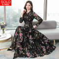 Dress Spring 2020 Pink, Navy, rose 2XL, 3XL, 4XL, s, m, l, XL, collection * pay attention to the store and send 10 gold coins longuette singleton  Long sleeves commute Crew neck High waist Decor zipper Big swing puff sleeve Others Type A Korean version Print, lace up Chiffon