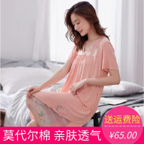 Nightdress Other / other Pink, sky blue, flower color, lotus root, watermelon red, rose red, light orange red, flower green, flower purple, light lotus root M [recommended 80-100 kg], l [recommended 100-120 kg], XL [recommended 120-140 kg], XXL [recommended 140-160 kg] luxurious Short sleeve pajamas