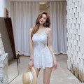 one piece  other M,L,XL white Skirt one piece With chest pad without steel support female Sleeveless Casual swimsuit backless