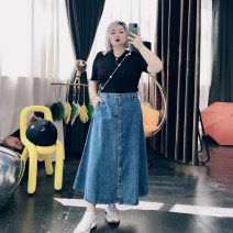 Women's large Spring 2021, summer 2021 Wash blue Large XL, large XXL, large XXL, large 4XL skirt singleton  commute easy moderate Solid color Korean version Denim 25-29 years old