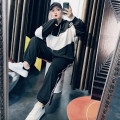 Women's large Spring 2021 black Large XL, large XXL, large XXL, large 4XL Other oversize styles Two piece set commute easy moderate Socket Long sleeves Solid color Korean version Hood routine Others, cotton Three dimensional cutting routine 25-29 years old trousers
