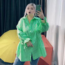Women's large Spring 2021 Large XL, large XXL, large XXL, large 4XL shirt singleton  commute easy moderate Cardigan Long sleeves Solid color Korean version Polo collar routine cotton routine 25-29 years old
