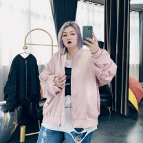 Women's large Spring 2021 Black, pink Large XL, large XXL, large XXL, large 4XL Jacket / jacket singleton  commute easy moderate Cardigan Long sleeves Solid color Korean version stand collar routine Cotton, others Three dimensional cutting routine XC2163 25-29 years old pocket zipper