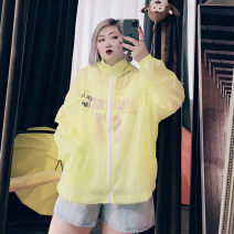 Women's large Spring 2021, summer 2021 Black, white, yellow, pink Large XL, large XXL Vest / sling singleton  commute easy thin Cardigan Long sleeves letter Korean version Hood routine Others, cotton routine 25-29 years old zipper
