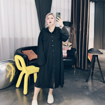 Women's large Spring 2021 Black, gray Large XL, large XXL, large XXL, large 4XL Dress singleton  commute easy moderate Cardigan Long sleeves Solid color Korean version Hood Medium length Others, cotton Three dimensional cutting routine QD10281 25-29 years old Button longuette other