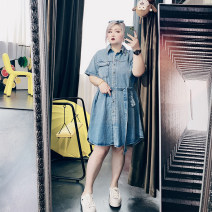 Women's large Summer 2020, spring 2021 blue Large XL, large XXL, large XXL, large 4XL Dress singleton  commute easy moderate Socket Short sleeve Solid color Korean version Polo collar Medium length Denim routine 25-29 years old