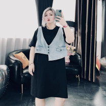 Women's large Spring 2021, summer 2021 black Large XL, large XXL, large XXL Dress singleton  commute easy moderate Socket Short sleeve Solid color Korean version Crew neck Medium length Cotton, others routine 25-29 years old