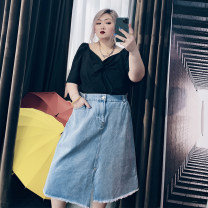 Women's large Spring 2021, summer 2021 blue Large XL, large XXL, large XXL, large 4XL, large 5XL skirt singleton  commute easy moderate Solid color Korean version Others, cotton 25-29 years old pocket Medium length other