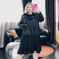Women's large Spring 2021 Black, beige Large XL, large XXL, large XXL, large 4XL, large 5XL leather clothing singleton  commute easy moderate Cardigan Long sleeves Solid color Korean version other routine Cotton, others Three dimensional cutting routine 25-29 years old Button