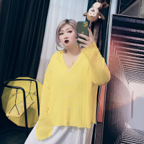 Women's large Summer 2020, spring 2021 Black, white, yellow, purple Large XL, large XXL, large XXL Knitwear / cardigan singleton  commute easy moderate Cardigan Long sleeves Solid color Korean version V-neck routine cotton routine 25-29 years old
