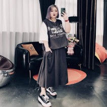 Women's large Spring 2021 grey Large XL, large XXL, large XXL, large 4XL Other oversize styles Two piece set commute easy moderate Socket elbow sleeve Others, letters Korean version Crew neck routine Others, cotton routine 25-29 years old pocket longuette other