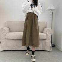 skirt Autumn 2020 S,M,L Khaki, black Mid length dress Versatile Natural waist Umbrella skirt Solid color Type A 18-24 years old 71% (inclusive) - 80% (inclusive)