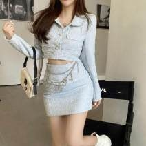 Fashion suit Autumn 2020 S. M, average size Light blue skirt, pink skirt, light blue coat, pink coat, fashion chain 18-25 years old zym3540 30% and below