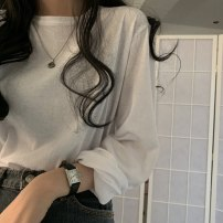T-shirt Light purple, light green, gray, white, black, brick red, retro blue Average size-202 Autumn 2020 Long sleeves Crew neck easy Regular routine commute cotton 96% and above 18-24 years old Korean version AA31E3070