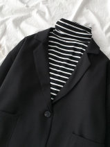 suit Autumn of 2019 black Average size Long sleeves routine easy tailored collar A button commute routine Solid color yLLsd 18-24 years old 96% and above polyester fiber