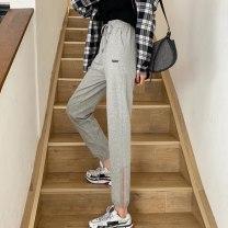 Casual pants Gray-174, black-6fp M,L,XL,2XL Spring 2021 trousers Haren pants High waist commute routine 18-24 years old 51% (inclusive) - 70% (inclusive) 9039E3070 Korean version cotton Asymmetry