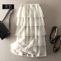 skirt Summer 2020 S,M,L Black, beige Mid length dress street High waist Cake skirt Solid color Type A Europe and America