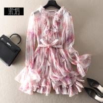 Dress Summer 2021 Pink S,M,L Short skirt singleton  Long sleeves street V-neck High waist Decor Socket A-line skirt 1L135 More than 95% silk Europe and America