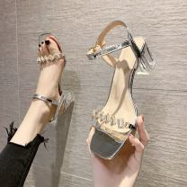 Sandals 35,36,37,38,39 Silver, gold, silver upgrade, gold upgrade PU Other / other Barefoot Thick heel Middle heel (3-5cm) Summer 2021 Flat buckle Korean version Solid color Adhesive shoes Youth (18-40 years old) rubber banquet Back space Water drill, thick heel Low Gang Lateral space PU PU FT215477