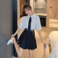 Fashion suit Summer 2021 S. M, l, XL, one size fits all Short sleeve Tie Shirt, long sleeve Tie Shirt, chain belt skirt, short sleeve two-piece set, long sleeve two-piece set 18-25 years old C0329