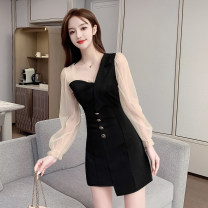 Dress Spring 2021 black S,M,L,XL,2XL Short skirt singleton  Long sleeves Sweet Slant collar High waist Solid color zipper A-line skirt other 18-24 years old Type A Splicing #1129 Mori