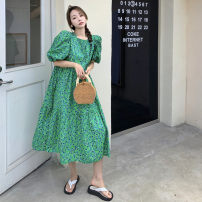 Dress Summer 2021 green Average size longuette singleton  Short sleeve Sweet Crew neck High waist Broken flowers Socket Big swing puff sleeve 18-24 years old Type A C0413 polyester fiber solar system