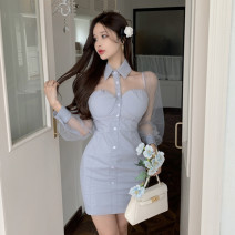 Dress Spring 2021 Gray, black S, M Short skirt singleton  Long sleeves commute Polo collar High waist Solid color Socket A-line skirt other Others 18-24 years old Type A Korean version Splicing, mesh A0329 brocade cotton
