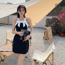 Dress Summer 2021 Bow skirt S, M Short skirt Sleeveless commute other High waist other Socket Princess Dress other camisole 18-24 years old Type H Retro bow 31% (inclusive) - 50% (inclusive) Chiffon