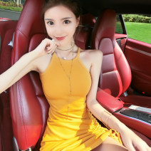 Dress Spring 2020 Gray, yellow S, M Short skirt singleton  Sleeveless commute Crew neck High waist Solid color Socket Irregular skirt camisole 18-24 years old Type H Other / other Korean version three point one four knitting