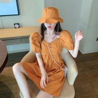 Dress Summer 2021 Mint + hat, Yellow + hat, white + hat Average size Short skirt singleton  Short sleeve commute V-neck High waist Solid color puff sleeve 18-24 years old Korean version #0401