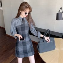 Dress Autumn 2020 Picture color tie S,M,L Short skirt singleton  Long sleeves commute Polo collar High waist other A-line skirt routine 18-24 years old Type A Retro C0930