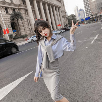 Fashion suit Autumn 2020 L,S,M Gray, black 18-25 years old Other / other 8/10 71% (inclusive) - 80% (inclusive) cotton