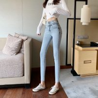 Jeans Spring 2020 wathet S,M,L Ninth pants High waist Pencil pants routine 18-24 years old washing Cotton elastic denim light colour Other / other