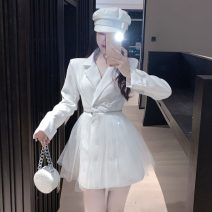 Dress Autumn 2020 White, black S,M,L Short skirt singleton  Long sleeves commute V-neck High waist Solid color double-breasted A-line skirt routine Others 18-24 years old Type A Korean version Splicing, mesh 31% (inclusive) - 50% (inclusive) other