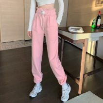 Casual pants Gray, white, pink Average size Spring 2021 trousers Haren pants High waist Versatile 18-24 years old C0302