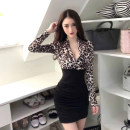 Dress Winter of 2018 Yellow leopard pattern, white leopard pattern Average size Short skirt singleton  Long sleeves street V-neck middle-waisted Leopard Print Socket Pencil skirt routine Others 18-24 years old Type A Other / other twelve point three