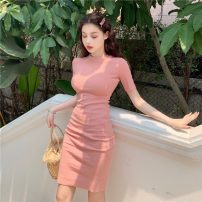 Dress Spring 2021 Purple, red, green, yellow, black, pink Average size Short skirt singleton  Short sleeve commute Crew neck High waist Solid color Socket One pace skirt routine Others 18-24 years old Type H Korean version zipper A0220 31% (inclusive) - 50% (inclusive) other polyester fiber