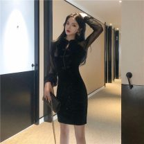 Dress Spring 2020 black S,M,L Short skirt singleton  Long sleeves commute High waist Solid color A-line skirt 18-24 years old Type A Other / other Korean version #1014