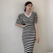 Dress Summer 2021 Black, black and white stripes Average size longuette singleton  Short sleeve commute V-neck puff sleeve 18-24 years old Type H Korean version b0321