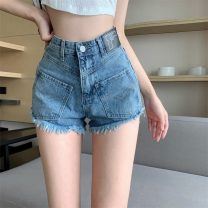 Jeans Spring 2021 Blue, black and gray S,M,L shorts High waist Wide legged trousers routine 18-24 years old other Dark color
