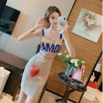 Dress Spring 2020 Apricot, black Average size Middle-skirt singleton  Sleeveless commute other High waist Socket One pace skirt other camisole 18-24 years old Type H Other / other Korean version Splicing six point two three