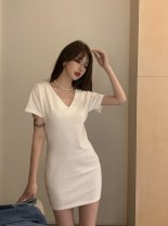Dress Summer 2021 white Average size singleton  Short sleeve commute V-neck High waist Solid color A-line skirt Others 18-24 years old Type A D0411 other