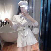 Dress Spring 2021 White + belt, black + belt Average size Short skirt singleton  Long sleeves commute Polo collar High waist Solid color Single breasted A-line skirt shirt sleeve Others 18-24 years old Type A Korean version More than 95%