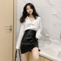 Fashion suit Spring 2020 S. M, l, average size White shirt, black leather skirt, 8216 white shirt 18-25 years old Other / other eight point one one