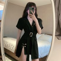 Dress Summer 2020 White, black S,M,L Short skirt singleton  Short sleeve commute tailored collar High waist Solid color Single breasted Irregular skirt routine Others 18-24 years old Type A Retro