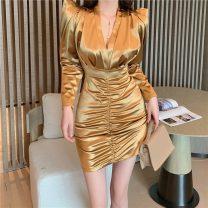 Dress Spring 2021 White, gold, black Average size Short skirt singleton  Long sleeves commute V-neck High waist Solid color Socket A-line skirt routine 18-24 years old Type A Korean version fold