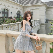 Dress Summer 2020 Champagne, blue grey S,M,L Short skirt singleton  commute High waist Solid color A-line skirt camisole 18-24 years old Type A court